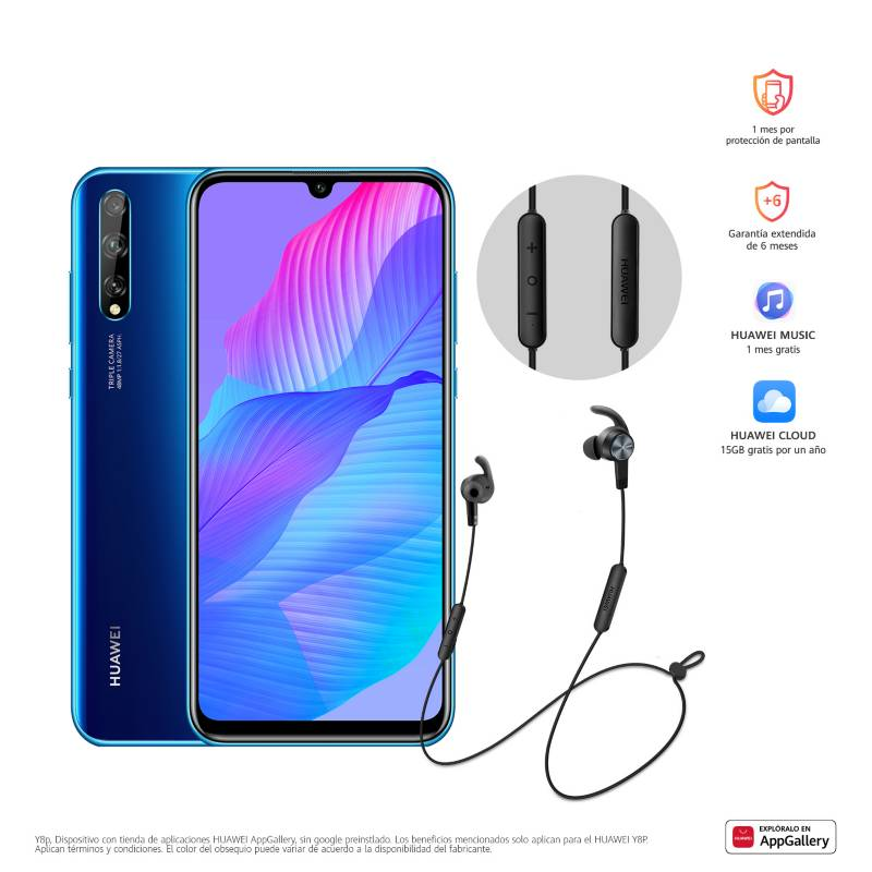 Huawei - Celular Huawei Y8P Azul con HMS 128GB + Audífonos Bluetooth AM61