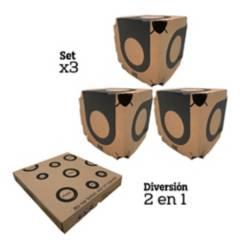 Natural Toys - Gimnasio en carton para gatos 2 en 1 set x 3