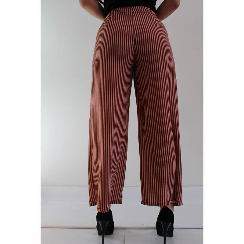 Week Colombia Pantalon Rayas Mujer Beige Vino Plazzo Tiro Alto Falabella Com