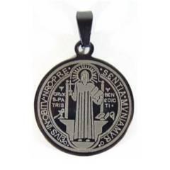 GENERICO - Medalla San Benito Acero Inoxidable Diametro 3.4cm