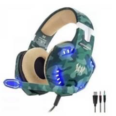 Danki - Diadema gamer g2600 camuflada verde usb microfono