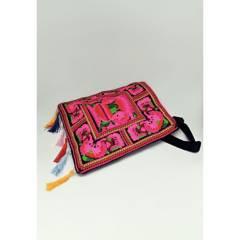 AZ ACCESSORIES - Bolso mujer tejido tibetano fucsia az accessories