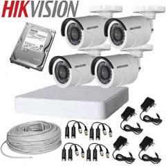 HIKVISION - Kit hikvision dvr 4 canales 2 domos 2 balas + acce