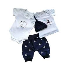 MUNDO BEBE - Conjunto ropa niño bebé marinero con gorro