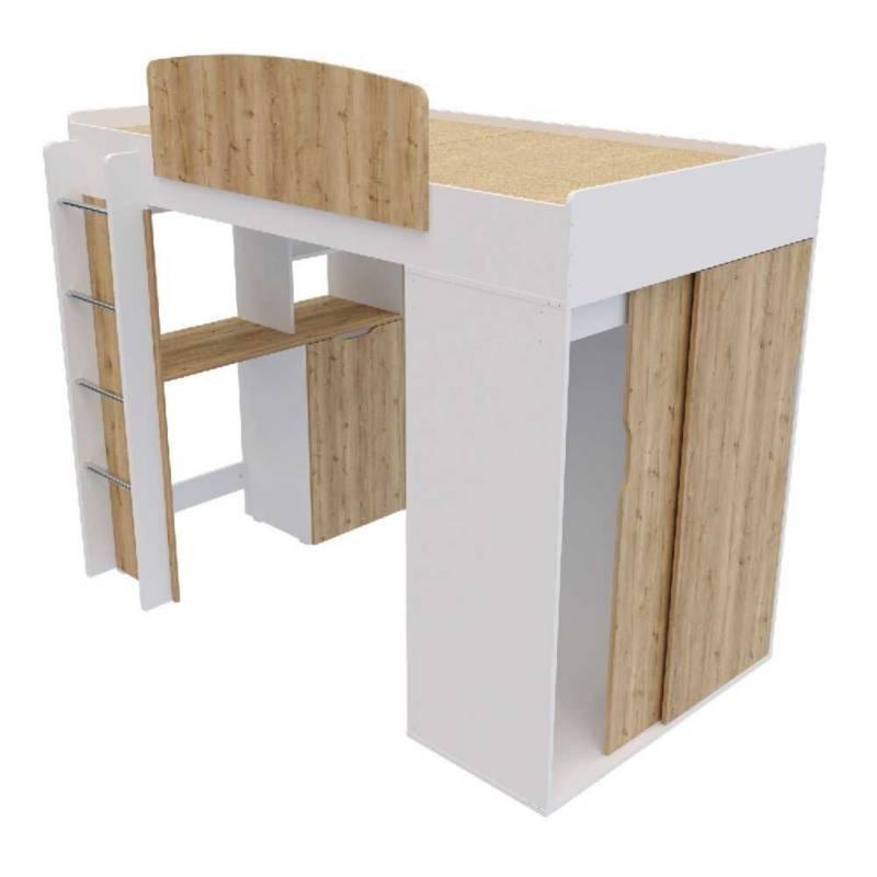Maderkit - Camarote multifuncional con escritorio y closet