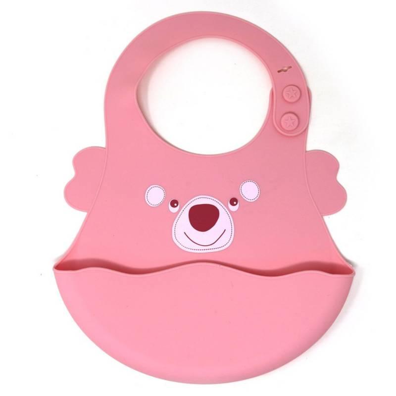 BEBESITOS - Babero de silicona con bolsillo bebesitos rosado
