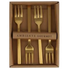 Ambiente Gourmet - Tenedores Postre Dorado Mate Set X 4