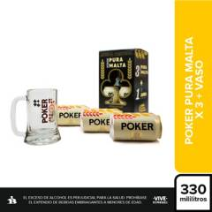 Poker - Set x3 Cerveza Poker Malta Lata 330 ml + Vaso