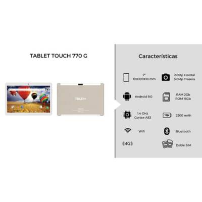 tablet touch 770g 7 pulgadas dorada