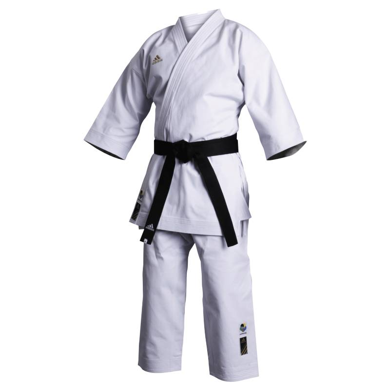 "Adidas - Uniforme Karate  ""Champion"" Corte Europeo Blanco sin cinta."
