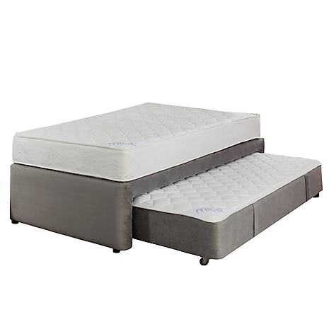 Mica set plenitud cama div n semidoble gris for Cama semidoble