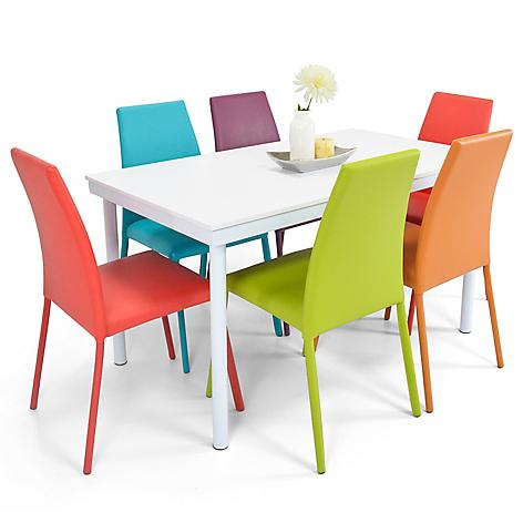 Mica juego de comedor loft 6 puestos mesa blanca for Comedores falabella chile