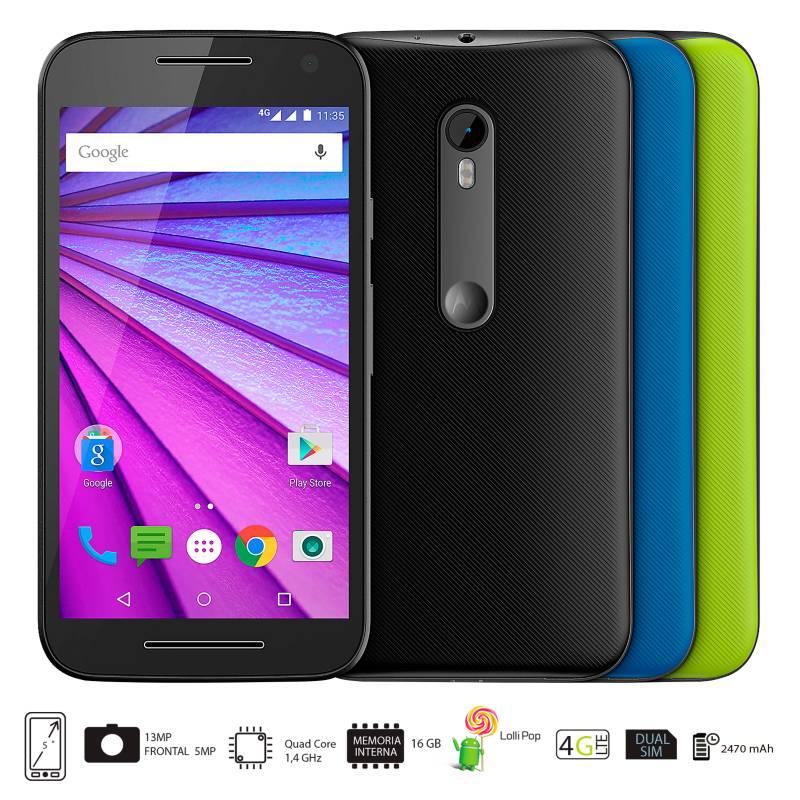 Motorola - Moto G 3ra Generación 16GB Negro Celular Libre