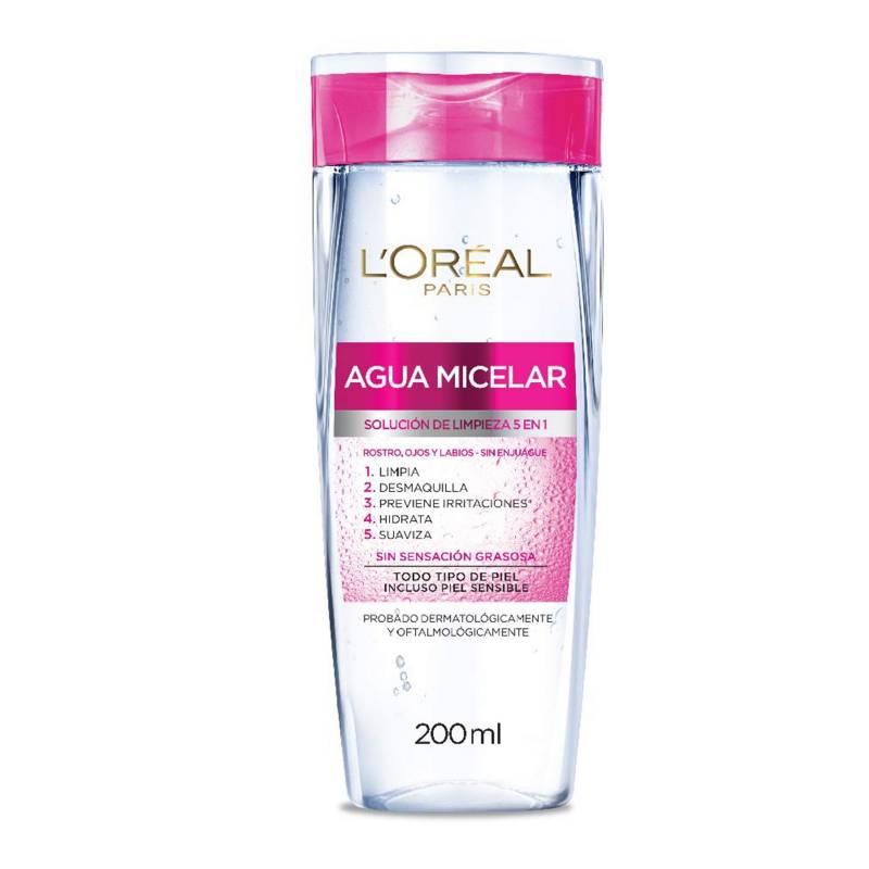 Loreal - Agua Micelar Desmaquillante-Solución de Limpieza 5 en 1