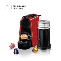 Nespresso - Cafetera con Cápsula Nespresso Essenza Mini Roja + Espumador de Leche Aeroccino