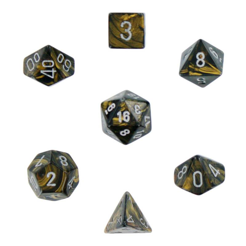 Chessex - Dados Leaf Polyhedral Black Goldsilver