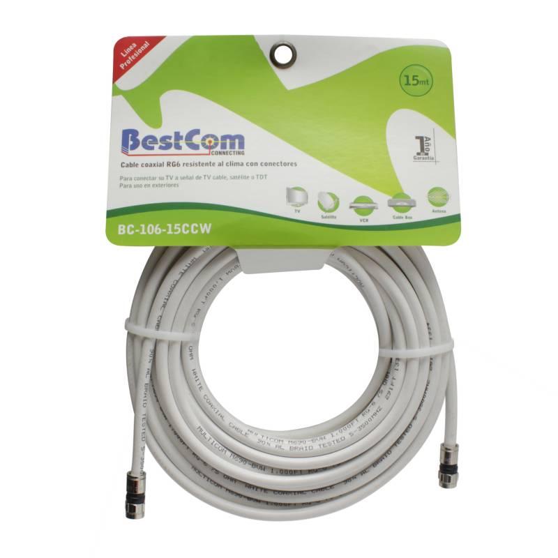 BestCom  - Cable Coaxial RG-6 al 90 15 Mt Blanco