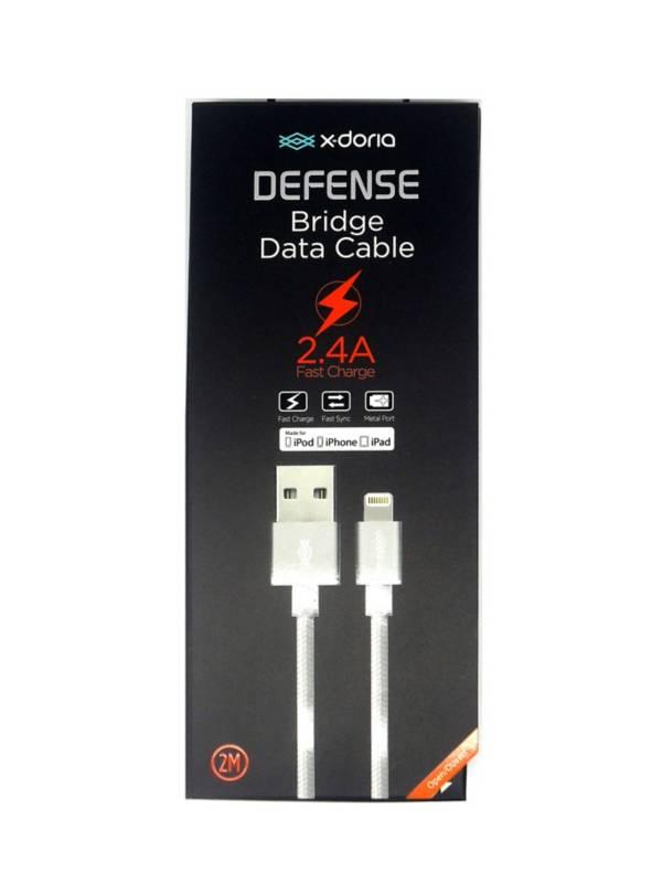 X-Doria - Cable Ligthing Xdoria De 2 Metros En Naylon Trensado Plateado