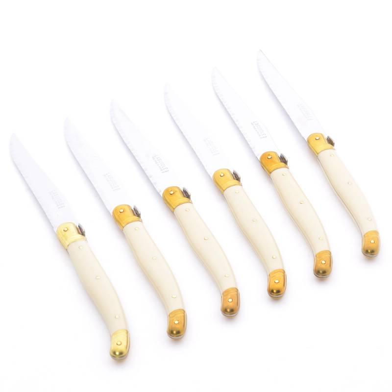 Laguiole - Set x6 cuchillos marfil - bronce