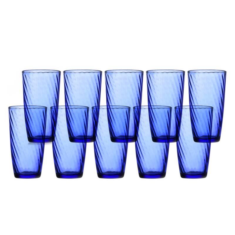 Alumar - Set x10 Vasos Vidrio Azul