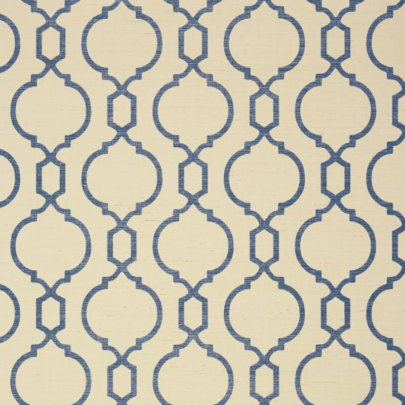 Thibaut - Papel Colgante Azul y Crema Cortne