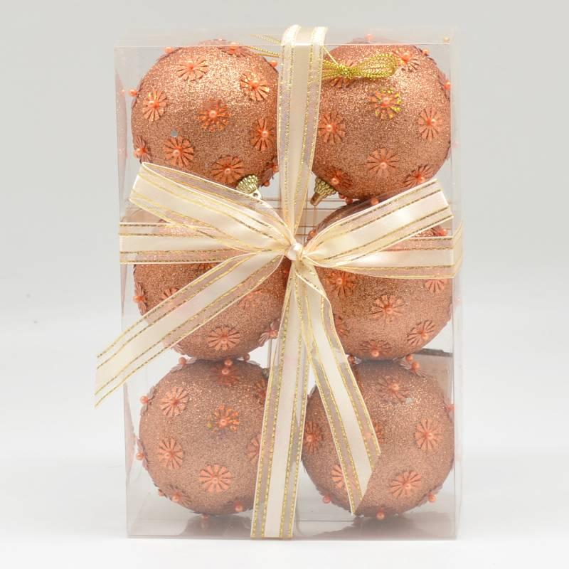 PINCASO - Caja de Bolas x 6 con Mostacilla/Lentejuelas Naranja 8 cm