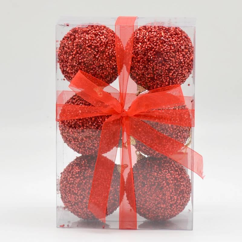 PINCASO - Caja de Bolas x 6 Escarchadas 8 cm Rosadas
