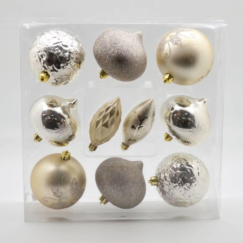 PINCASO - Caja de Bolas x 10 Diseño Surtido Champange 10 cm