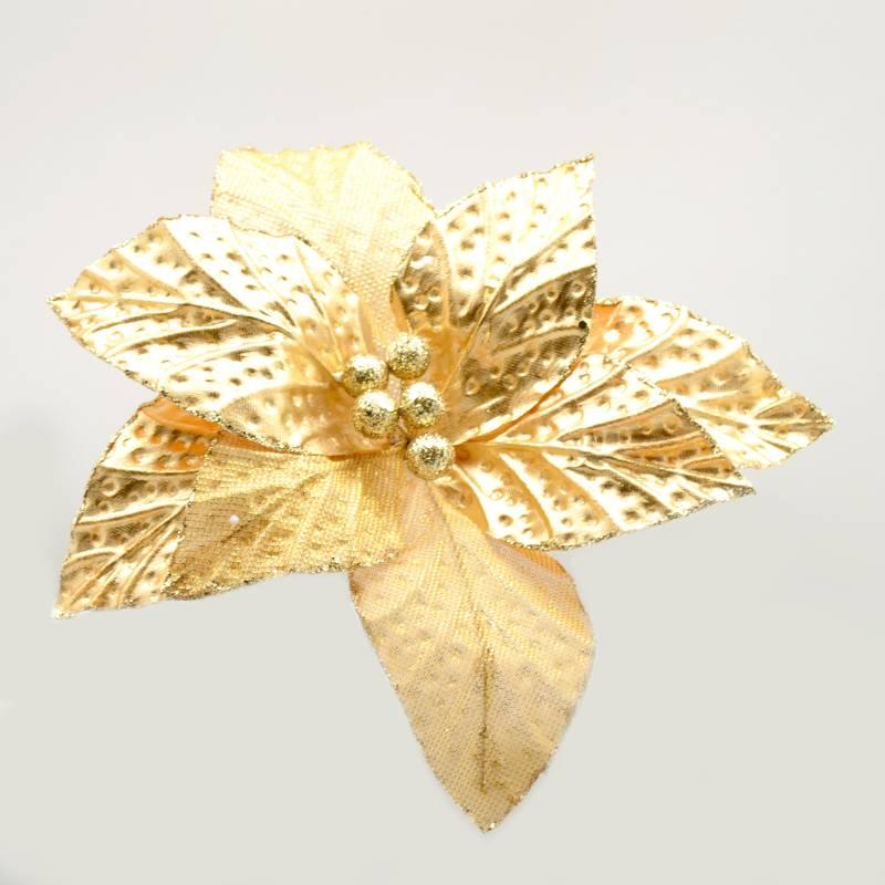 PINCASO - Poinsettia Metalizada Hojas Texturas Dorada 30 cm