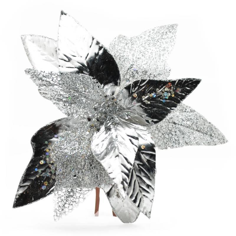 PINCASO - Poinsettia Hoja Picos Metalizada Plateada 30 cm