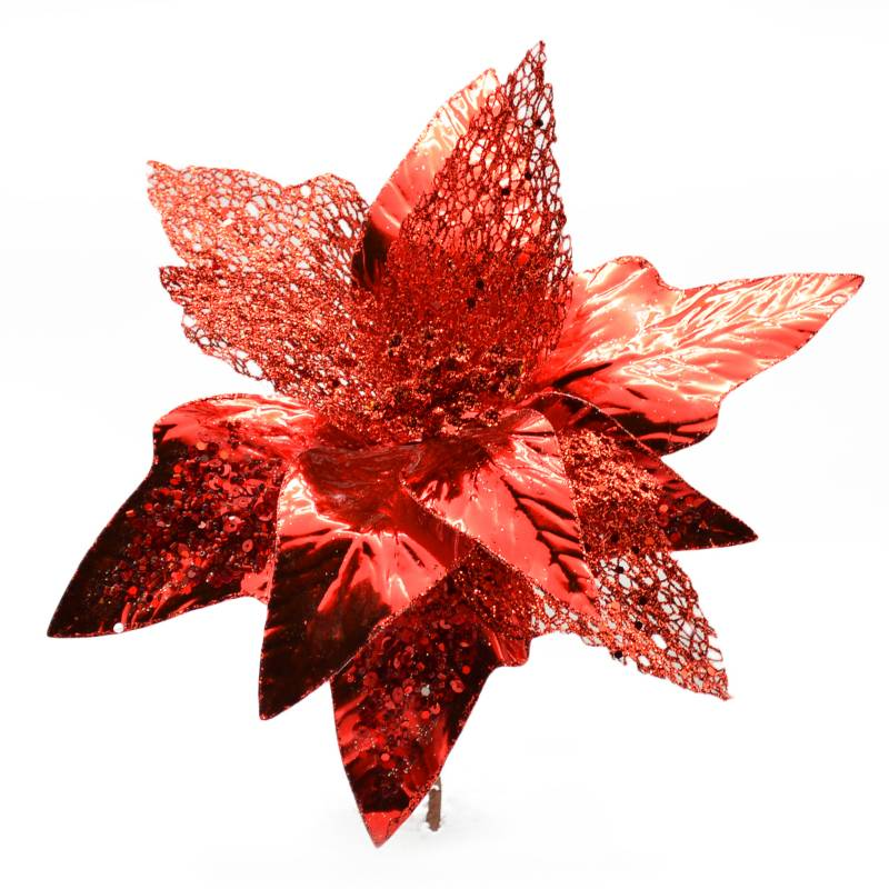 PINCASO - Poinsettia Hoja Picos Metalizada Roja 30 cm