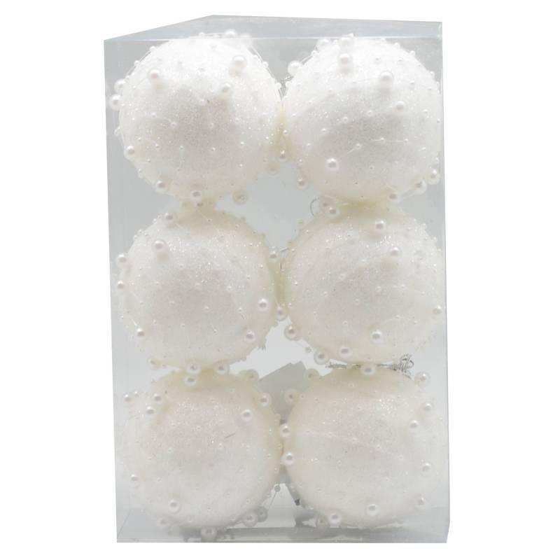 PINCASO - Caja de Bolas Escarchada Pepitas 8 cm Set x 6 Blanco