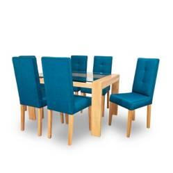 Juego de Comedor 6 Puestos Catar Azul