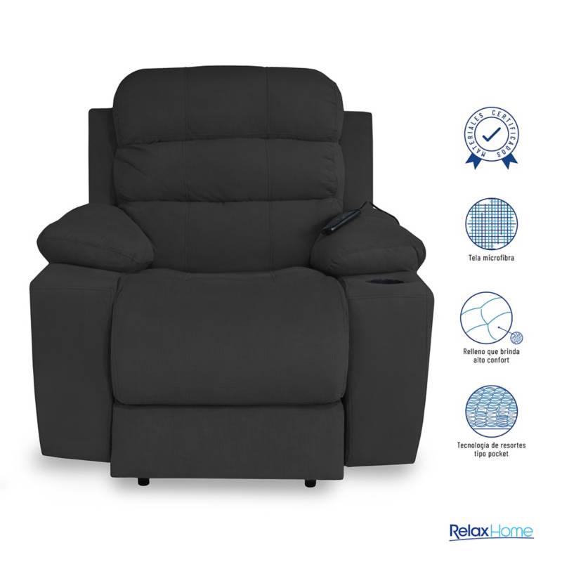 Relax Home - Silla Reclinable 1 Puesto Microfibra Houston