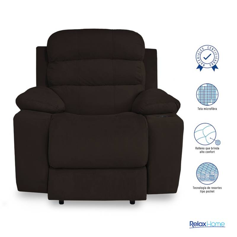 Relax Home - Silla Reclinable 1 Puesto Microfibra Houston