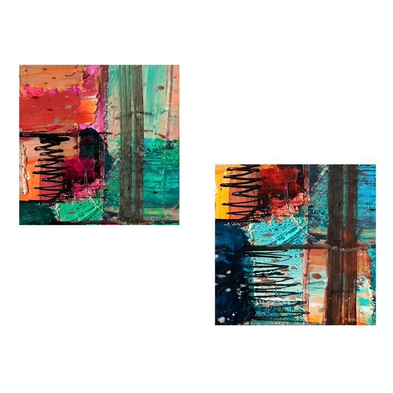 Sándalo - Par Retablo Abstracto 30 x 30 cm -3