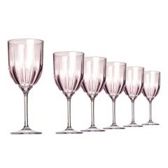 Tritec - Set 6 Copas Vino Acrílica Rosa