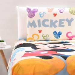 Disney - Juego de Sábanas Infantiles Microfibra Mickey Blanco