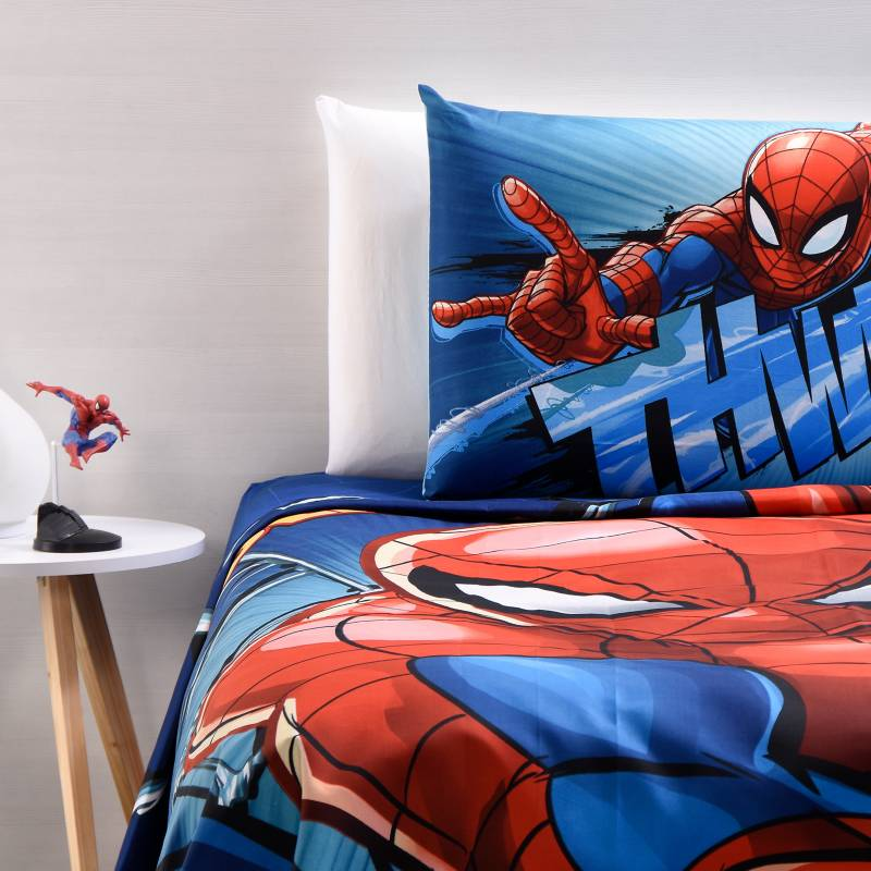 Marvel - Juego de Sábanas Infantiles Microfibra Spiderman Azul