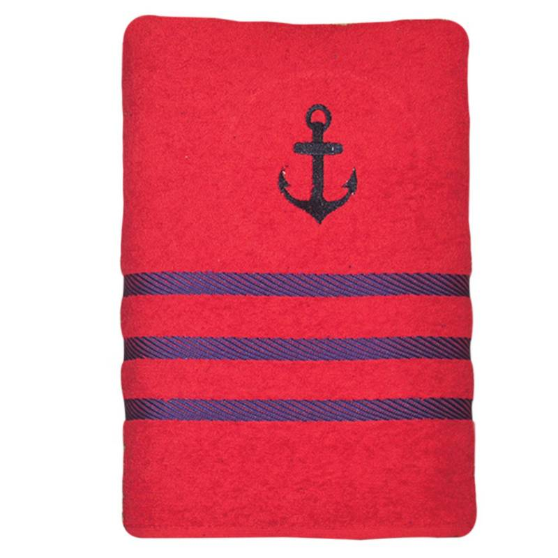 Telary - Toalla Navy Bordado Rojo 70 x 130 cm