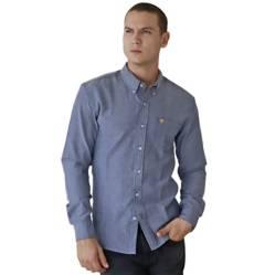 Marfil - Camisa Hombre Oxford Gris Plata