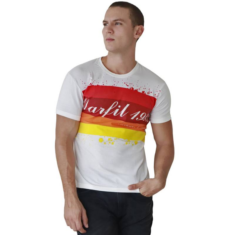 Marfil - Camiseta Hombre Slim Fit Blanco Spark
