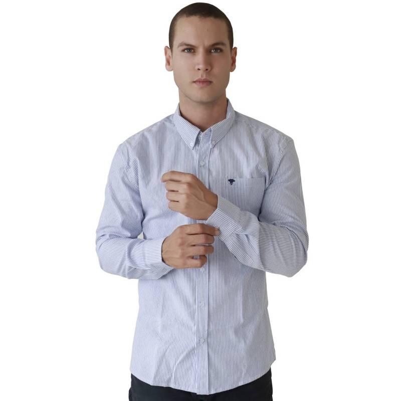 Marfil - Camisa Hombre Oxford Rayas Celeste