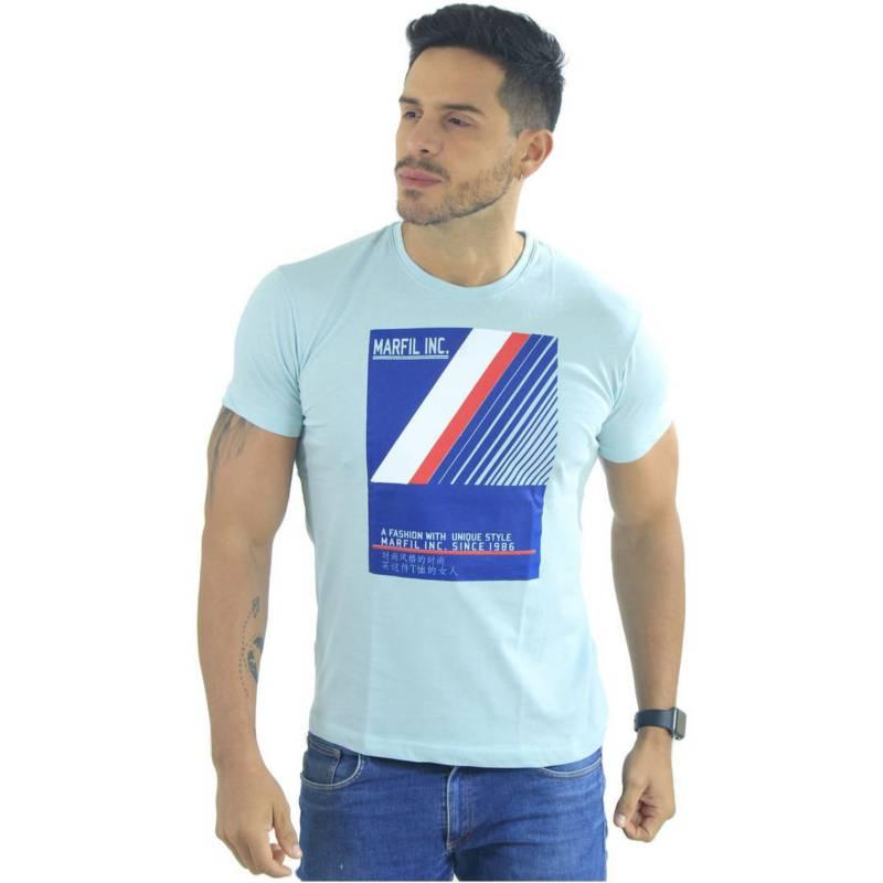 Marfil - Camiseta Hombre Slim Fit Celeste