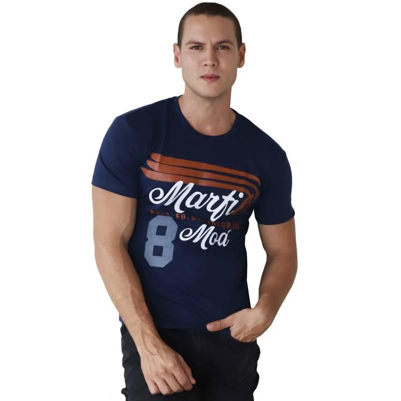 Marfil - Camiseta Hombre Slim Fit Azul Oscuro
