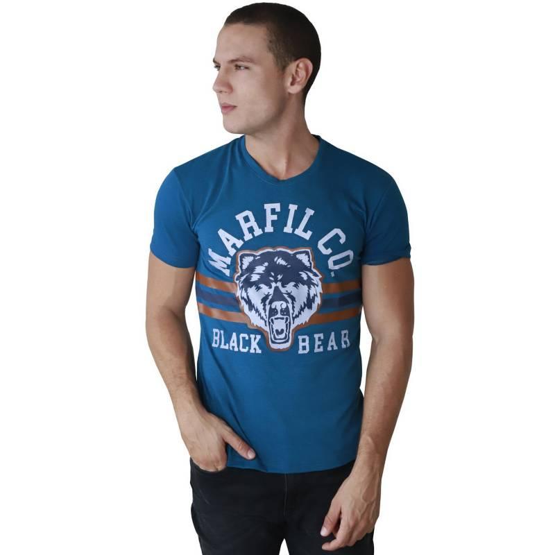 Marfil - Camiseta Hombre Slim Fit Azul