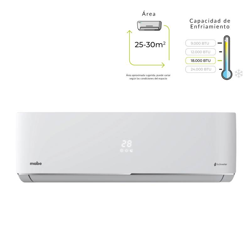 aire acondicionado mabe inverter 18000btu 220v-mmi18cdbwccchi8