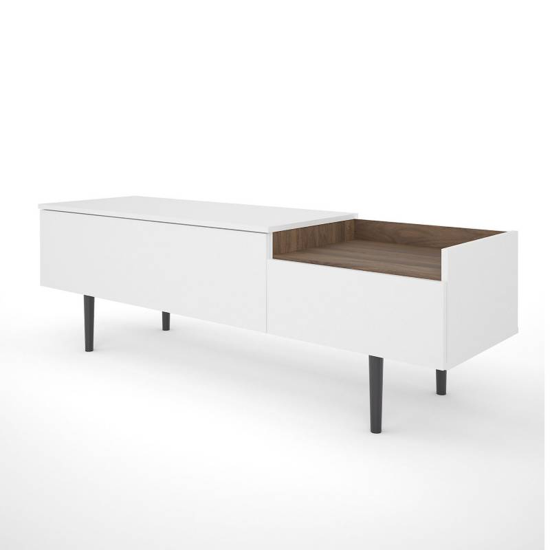 TVILUM - Mueble de TV Unit 2 Cajones Blanco/Madera