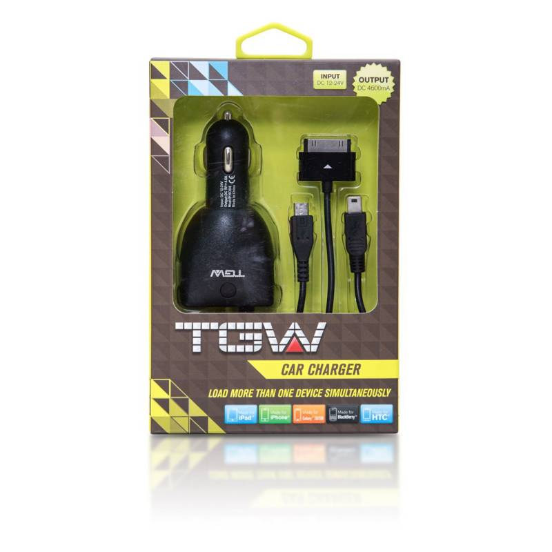 TGW - Cargador De Auto 2usb Cable Mini Usb Incorporado 4