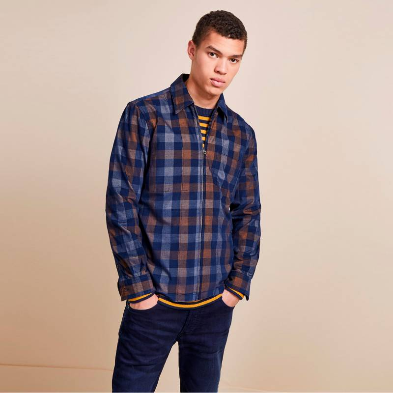 French Connection - Camisa Dobby Loose Azul